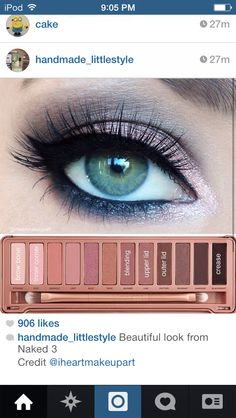 Makeup look using the Naked 3 palette.