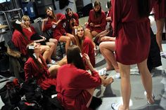 MODEL BEHAVIOR: Models chatted as they got ready backstage at the Elena Miro show during Milan Fashion Week