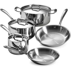 Tramontina Stainless Steel Tri-Ply Clad Cookware Set with Stainless-steel lids has Riveted, ergonomic stainless-steel handles Best Nonstick Cookware Set, Kitchen Cookware Sets, Cast Iron Cookware, Induction Cookware, Pan Set, Stainless Steel, Kitchen Tools, Kitchen Products, Zucchini