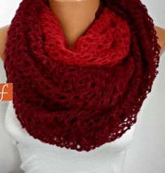 Burgundy Tube Scarf Infinity Scarf Loop Scarf Circle by fatwoman,