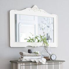 Spiegel ROMANTICA aus Harz, H 80cm, weiß