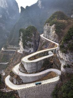 Tongtian Avenue (Avenue toward Heaven), Hunan province, China. Photo by Tom Horton.  Awesome looking road.  Insane to travel it.  #road