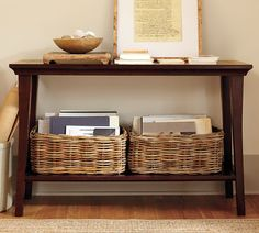 Books in a basket on cosole table, book storage