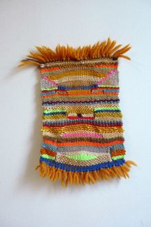 Tiny woven tapestry!  Reminds me of my first weaving project...