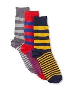 50% OFF Richer Poorer Men's Walk On 3-Pack Sock Set, Navy/Red/Lt Grey
