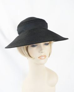Vintage 1930s Hat Black Straw Wide Brim by Betmar Woodward and Lothrop Sz 21 by alleycatsvintage on Etsy