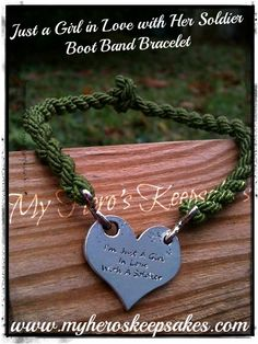 Military - Army - Just a Girl in love with a Soldier Boot Band Bracelet - Retail: $6.00 plus shipping - For more info visit: www.facebook.com/myheroskeepsakes