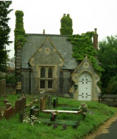 Old English Cottage with Cemetery. Maybe the bridal suite could be modeled after this???
