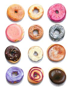 """""""Doughnuts"""" -- original illustration by Kendyll Hillegas, created with watercolor and colored pencils. Donut Mix, Blueberry Bagel, Flour Bakery, Recipe Icon, Food Lab, Bread Bowls, Pastry Shop, Good Enough To Eat, Artisan Bread"""