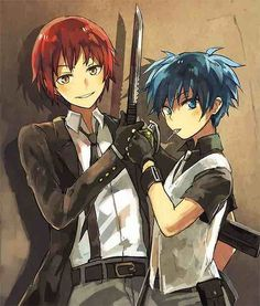 [Assassination Classroom] Karma Akabane and Nagisa Shiota Anime Meme, Manga Anime, Anime Boys, Yandere Manga, Comedy Anime, Karma Y Nagisa, Karma Kun, Noragami, Assassination Classroom Karma