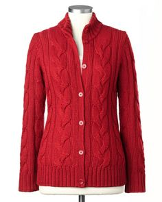 """Wonderful high-neck cable cardigan in a pretty, not """"too"""" red color."""