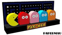 Pac-Man Papercraft Diorama Free Template Download - http://www.papercraftsquare.com/pac-man-papercraft-diorama-free-template-download.html#Diorama, #PacMan