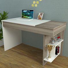 HIDDEN Bureau White / Avola - Computer Workstation - Home Office Desk - Writing Table with shelf unit in modern Design …