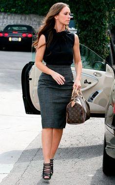 Pencil skirt, lighter color on bottom,  dark color on top