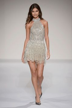 Sherri hill Runway Short Fully Beaded Silver dress with fringe skirt and high neckline Ypsilon Dresses Prom Pageant Evening Wear SLC Utah Dress Store Sweethearts Homecoming School Dance Dress Formal Formalwear