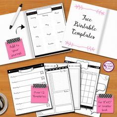 Free Printable Bullet Journal Templates. Over 12 layouts including monthly, weekly and daily calendars, to-do lists, quotes, tracking...