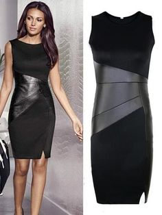 Black Patchwork PU Leather Slim Dress