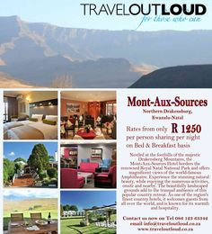 Mont-Aux-Sources  Nestled at the foothills of the majestic Drakensberg Mountains, Kwazulu-Natal , South Africa the Mont-Aux-Sources Hotel borders the renowned Royal Natal National Park and offers magnificent views of the world-famous Amphitheatre. Experience the stunning natural beauty, while enjoying the numerous activities, onsite and nearby. www.traveloutloud.co.za