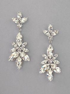 Claudia Leaf Crystal Chandelier Earrings