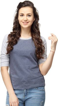 481e4f8224b Campus Sutra Women Round Neck Quarter Sleeve T-Shirts