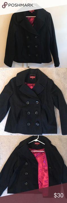 Merona Peacoat NWT black Merona Peacoat. Women's size large. Interior of coat magenta/pink lining as shown in pictures. Two front pockets. Never used. Merona Jackets & Coats Pea Coats