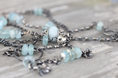 Long Aquamarine and Sterling Silver OOAK Necklace on Etsy, $179.00