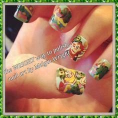 St. Patty's Day Rainbow and Leprechaun nail art. Hand painted nail art. Painted with Nail polish and acrylic paint by Melgin Wright  http://www.facebook.com/TheWrightWayToPolishNailArtByMelginWright  http://pinterest.com/melginswright/boards/