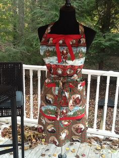 Santa Claus Christmas Plaid Apron No 173 by MothersApronString