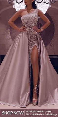 [New In] Fashion One Shoulder HIgh Slit Dress - Kleider - Fashion evening &wedding dresses for women, good choice for party, beautiful design and plus size y - African Prom Dresses, African Wedding Dress, Dress Wedding, Wedding Reception, Pink Wedding Gowns, Reception Dresses, African Dress, Lace Wedding, Evening Dresses For Weddings