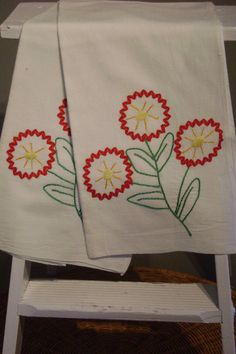 rickrack flower dish towels