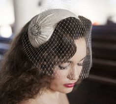 1950s style veil and headpiece  half hat and birdcage by AgnesHart, $255.00 Available now - very similar to Tina's favorite. Also does custom orders