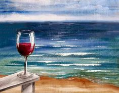 wine and canvas painting ideas Wine Painting, Easy Canvas Painting, Canvas Art, Acrylic Paintings, Wine And Canvas, Ecole Art, Wine Art, Paint And Sip, Beach Scenes
