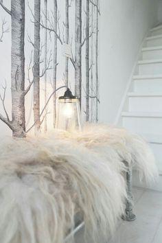 Love the wood wallpaper Sheep Rug, Beach Bedding Sets, Interior Inspiration, Design Inspiration, Deco Boheme Chic, Deco Addict, Interior Decorating, Interior Design, Cole And Son