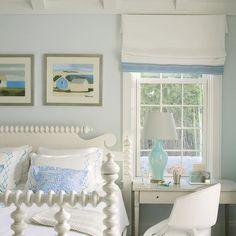 serene blue and white bedroom   Phoebe Howard