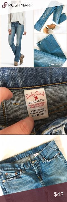 Lucky Brand sweet n low jeans Very good condition minus some wear at the hem as seen in the photo. Sweet n low fit. Add this to a bundle to save 15%. Lucky Brand Jeans Boot Cut