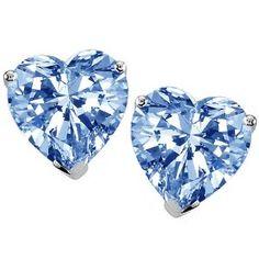 Heart Simulated Aquamarine Earring Studs