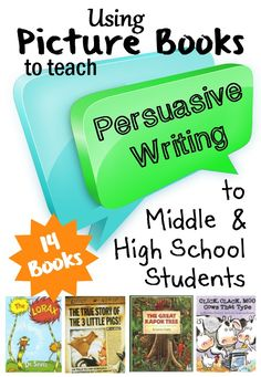 Persuasive writing can also be creative writing! This post teaches you how to use picture book examples of persuasive writing as mini-lessons to improve your student& persuasive pieces. Persuasive Writing Examples, Writing Mentor Texts, Argumentative Writing, Persuasive Essays, Teaching Writing, Writing Activities, Paragraph Writing, Thesis Writing, Writing Help