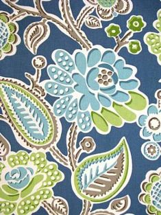 "OD Bertie Pool    Indoor/Outdoor fabric by P. Kaufmann Fabric. 100% poly, resists mildew and fading. 23"" repeat. 54"" wide"