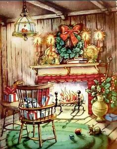 Vintage FireplaceChristmas Card UNUSED, with envelope Log Cabin Christmas, Old Time Christmas, Christmas Fireplace, Christmas Scenes, Old Fashioned Christmas, Christmas Past, Fireplace Mantel, Images Vintage, Vintage Christmas Images