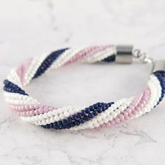 Pink, white and blue beaded bracelet by mobi handmade  #toho #jewelery #mobihandmade #beading #beadedbracelet #bracelet #bransoletka #herringbone #handmade #handmadejewelery
