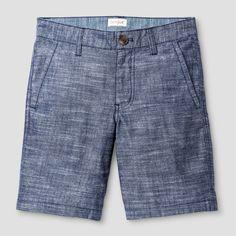 Boys' Flat Front Chino Shorts Cat & Jack Navy Chambray 16, Boy's, Blue