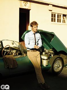 Alex Pettyfer. Tan suit and chambray shirt.