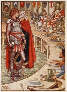 Sir Galahad is brought to the Court of King Arthur, from 'Stories of the Knights of the Round Table' by Henry Gilbert, first edition, 1911 by Walter Crane