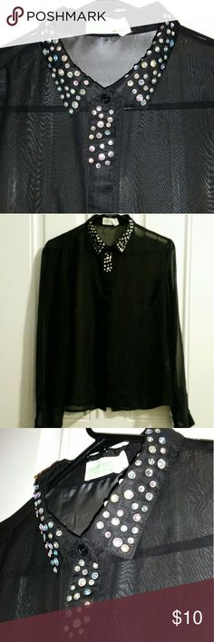 Bedazzled collared black transparent blouse Very unique item, cute little bedazzled collar and a transparent material. Tops Blouses