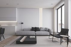 Modern home interiors with black and white decor. Examples of monochrome living rooms, black & white kitchens, black & white bedrooms, and monochrome bathrooms. Home Interior, Modern Interior, Interior Design, Minimalist Interior, Living Room Designs, Living Room Decor, Living Rooms, Black White Bedrooms, White Decor