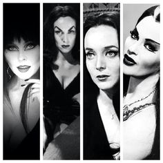 Queens of Horror: Elvira, Vampira, Morticia Addams and Lily Munster.