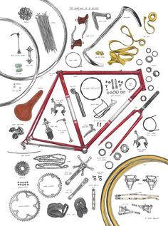 Magma Anatomy of a Bicycle Print by David Sparshott- udsolgt/sold out