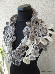 Crochet Scarf, Unique Crochet Neckwarmer, Gorgeous Multicolour Scarf Crochet Fashion, Crochet Lyubava