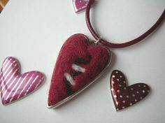 Valentine Heart Necklace with Needle-Felted Heart Pendant on Burgundy Cord. $18.00, via Etsy.