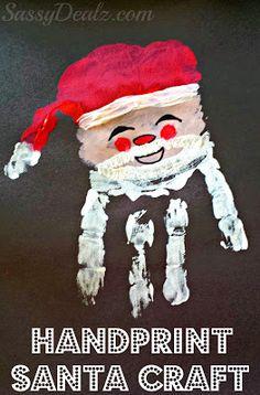 Santa Claus Handprint Christmas Craft For Kids - Crafty Morning